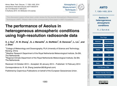 The Performance of Aeolus in Heterogeneo... by Sun, X. J.