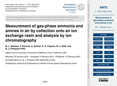 Measurement of Gas-phase Ammonia and Ami... by Dawson, M. L.