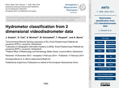 Hydrometor Classification from 2 Dimensi... by Grazioli, J.