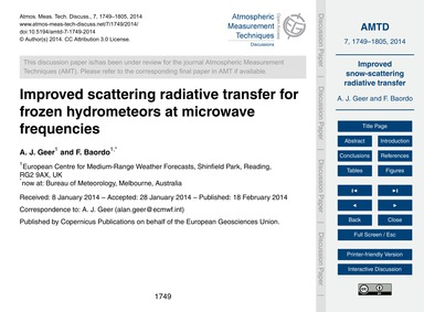 Improved Scattering Radiative Transfer f... by Geer, A. J.