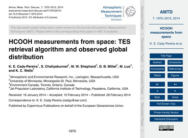 Hcooh Measurements from Space: Tes Retri... by Cady-pereira, K. E.