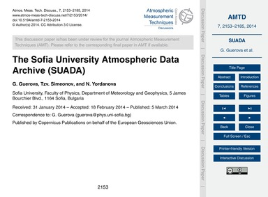 The Sofia University Atmospheric Data Ar... by Guerova, G.