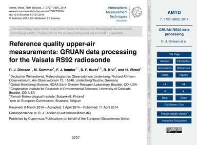 Reference Quality Upper-air Measurements... by Dirksen, R. J.