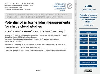 Potential of Airborne Lidar Measurements... by Groß, S.