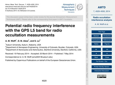 Potential Radio Frequency Interference w... by Wolff, A. M.