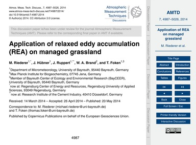 Application of Relaxed Eddy Accumulation... by Riederer, M.