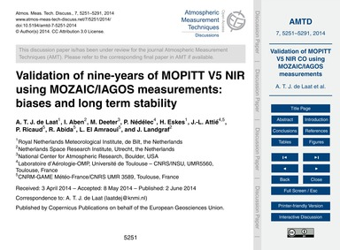 Validation of Nine-years of Mopitt V5 Ni... by De Laat, A. T. J.
