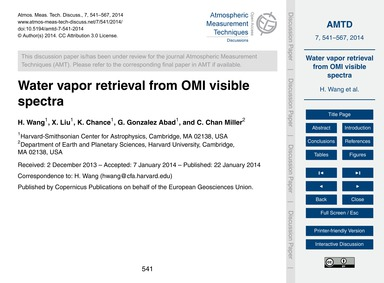 Water Vapor Retrieval from Omi Visible S... by Wang, H.