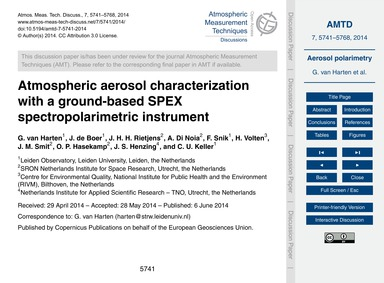Atmospheric Aerosol Characterization wit... by Van Harten, G.