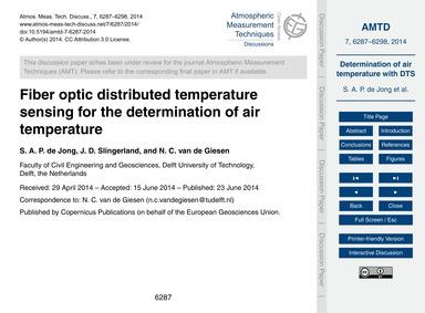 Fiber Optic Distributed Temperature Sens... by De Jong, S. A. P.