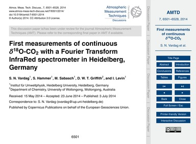 First Measurements of Continuous Δ18O-co... by Vardag, S. N.