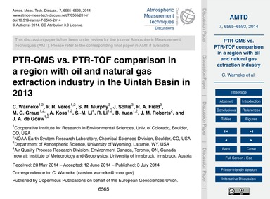 Ptr-qms Vs. Ptr-tof Comparison in a Regi... by Warneke, C.