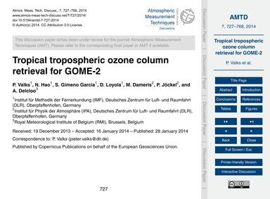 Tropical Tropospheric Ozone Column Retri... by Valks, P.