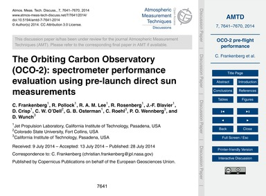 The Orbiting Carbon Observatory (Oco-2):... by Frankenberg, C.