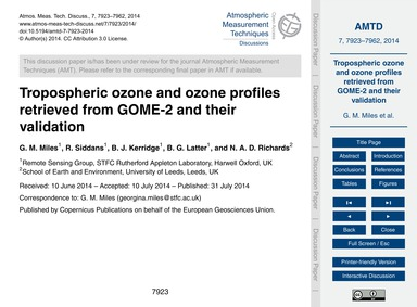 Tropospheric Ozone and Ozone Profiles Re... by Miles, G. M.