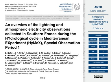 An Overview of the Lightning and Atmosph... by Defer, E.
