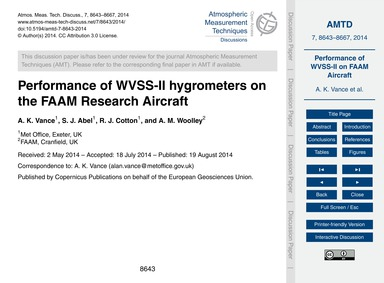 Performance of Wvss-ii Hygrometers on th... by Vance, A. K.