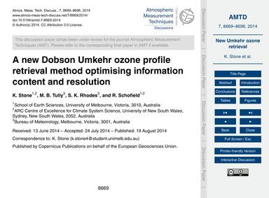 A New Dobson Umkehr Ozone Profile Retrie... by Stone, K.