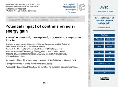 Potential Impact of Contrails on Solar E... by Weihs, P.