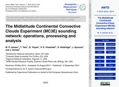 The Midlatitude Continental Convective C... by Jensen, M. P.