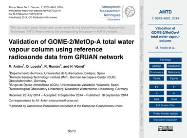 Validation of Gome-2/Metop-a Total Water... by Antón, M.