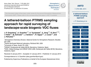 A Tethered-balloon Ptrms Sampling Approa... by Greenberg, J. P.