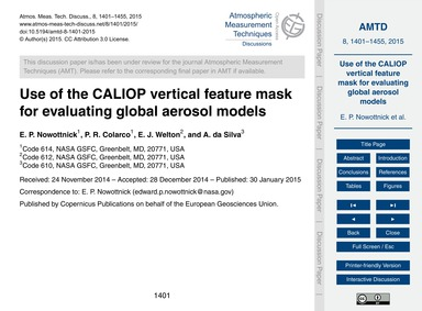 Use of the Caliop Vertical Feature Mask ... by Nowottnick, E. P.