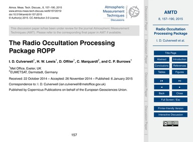 The Radio Occultation Processing Package... by Culverwell, I. D.