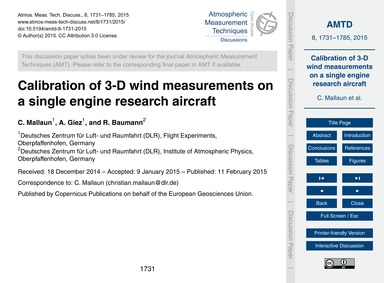 Calibration of 3-d Wind Measurements on ... by Mallaun, C.