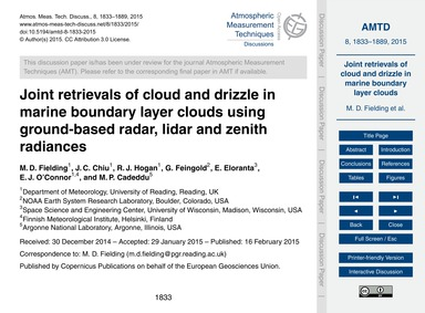 Joint Retrievals of Cloud and Drizzle in... by Fielding, M. D.