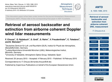 Retrieval of Aerosol Backscatter and Ext... by Chouza, F.