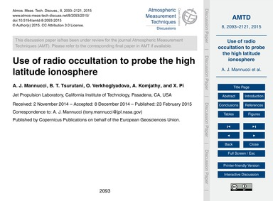 Use of Radio Occultation to Probe the Hi... by Mannucci, A. J.