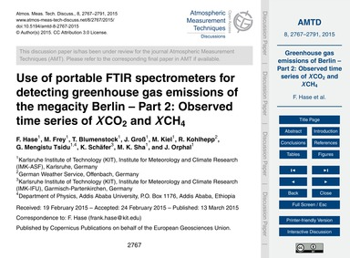Use of Portable Ftir Spectrometers for D... by Hase, F.