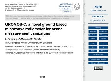 Gromos-c, a Novel Ground Based Microwave... by Fernandez, S.
