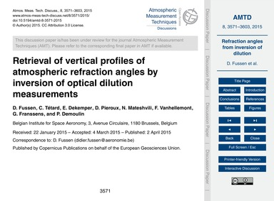 Retrieval of Vertical Profiles of Atmosp... by Fussen, D.