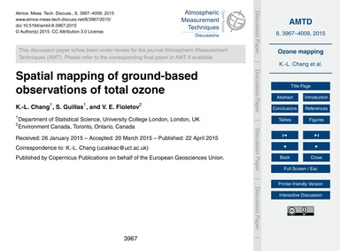 Spatial Mapping of Ground-based Observat... by Chang, K.-l.