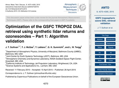 Optimization of the Gsfc Tropoz Dial Ret... by Sullivan, J. T.