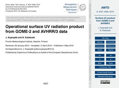 Operational Surface Uv Radiation Product... by Kujanpää, J.