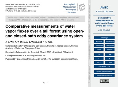 Comparative Measurements of Water Vapor ... by Wu, J. B.