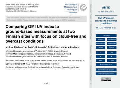 Comparing Omi Uv Index to Ground-based M... by Pitkänen, M. R. A.