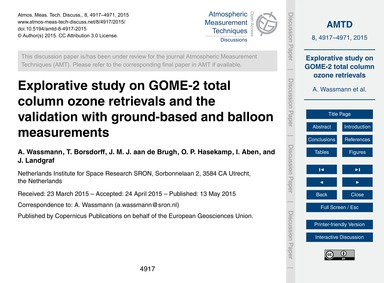 Explorative Study on Gome-2 Total Column... by Wassmann, A.