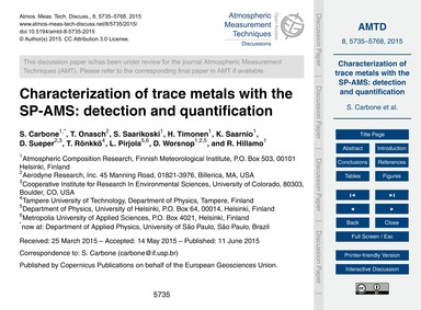 Characterization of Trace Metals with th... by Carbone, S.