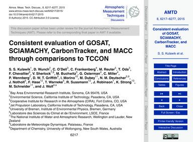 Consistent Evaluation of Gosat, Sciamach... by Kulawik, S. S.