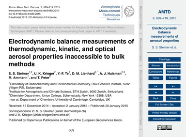 Electrodynamic Balance Measurements of T... by Steimer, S. S.