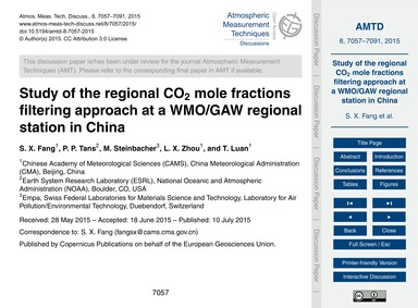 Study of the Regional Co2 Mole Fractions... by Fang, S. X.
