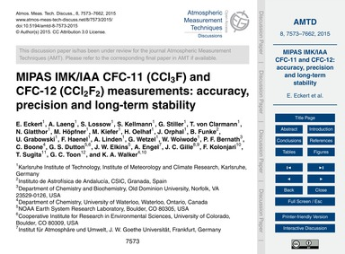 Mipas Imk/Iaa Cfc-11 (Ccl3F) and Cfc-12 ... by Eckert, E.