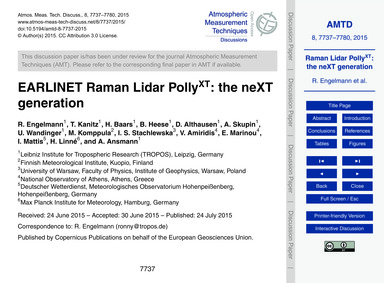Earlinet Raman Lidar PollyXt: the Next G... by Engelmann, R.