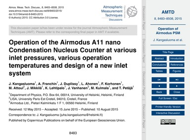Operation of the Airmodus A11 Nano Conde... by Kangasluoma, J.