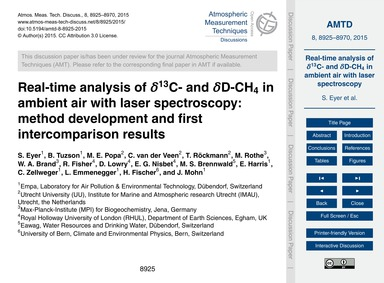 Real-time Analysis of Δ13C- and Δd-ch4 i... by Eyer, S.