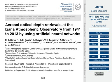 Aerosol Optical Depth Retrievals at the ... by García, R. D.